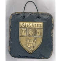 Antrim County crest Irish slate plaque